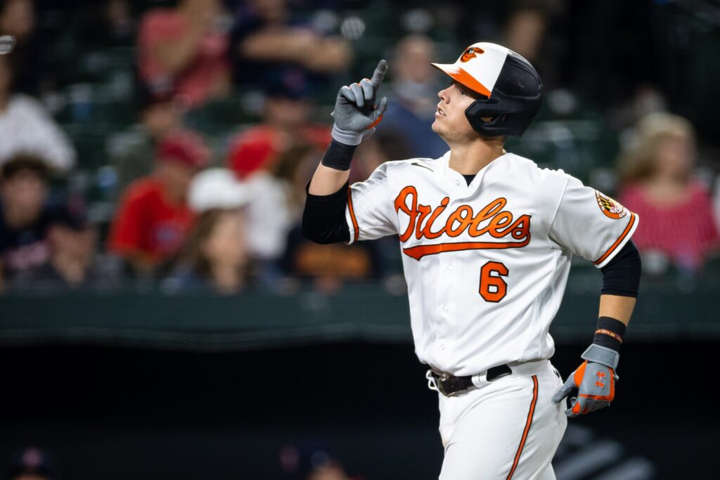 Sep 28, 2021; Baltimore, Maryland, USA; Baltimore Orioles first baseman Ryan Mountcastle (6) celebrates after hitting a two run home run against the Boston Red Sox during the sixth inning at Oriole Park at Camden Yards. Mandatory Credit: Scott Taetsch-USA TODAY Sports