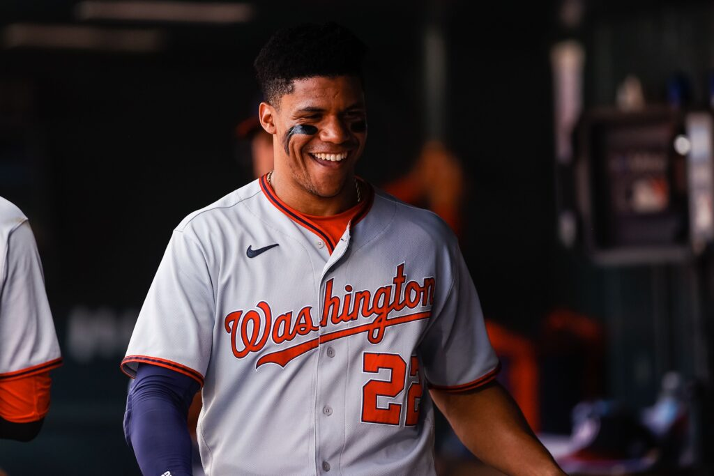 Sep 29, 2021; Denver, Colorado, USA; Washington Nationals right fielder Juan Soto (22) in the dugout in the first inning against the Colorado Rockies at Coors Field. Mandatory Credit: Isaiah J. Downing-USA TODAY Sports