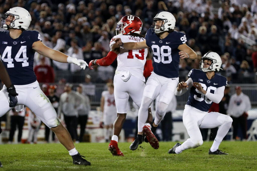 Oct 2, 2021; University Park, Pennsylvania, USA; Penn State Nittany Lions kicker Jordan Stout (98) watches the ball after kicking a field goal during the fourth quarter against the Indiana Hoosiers at Beaver Stadium. Mandatory Credit: Matthew OHaren-USA TODAY Sports