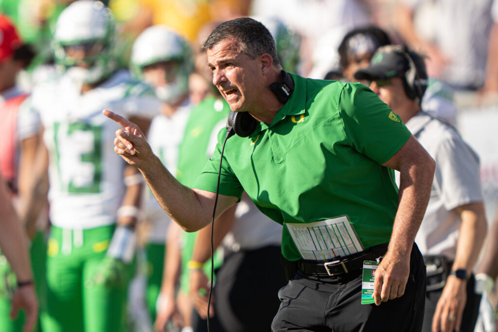 Oct 2, 2021; Stanford, California, USA;  Oregon Ducks head coach Mario Cristobal reacts during overtime against the Stanford Cardinal at Stanford Stadium. Mandatory Credit: Stan Szeto-USA TODAY Sports