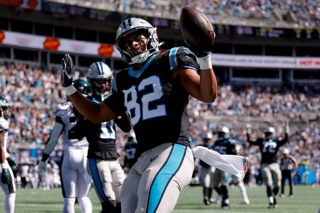 Oct 10, 2021; Charlotte, North Carolina, USA; Carolina Panthers tight end Tommy Tremble (82) reacts after a touchdown during the first half against the Philadelphia Eagles at Bank of America Stadium. Mandatory Credit: Douglas DeFelice-USA TODAY Sports