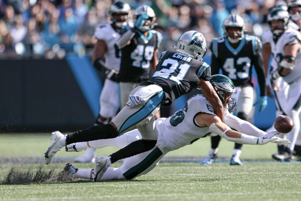 Oct 10, 2021; Charlotte, North Carolina, USA; Carolina Panthers safety Jeremy Chinn (21) breaks up a pass intended for Philadelphia Eagles tight end Zach Ertz (86) during the second half at Bank of America Stadium. Mandatory Credit: Douglas DeFelice-USA TODAY Sports