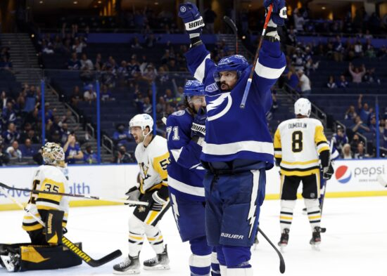 Oct 12, 2021; Tampa, Florida, USA; Tampa Bay Lightning left wing Alex Killorn (17) celebrates after scoring a goal against the Pittsburgh Penguins during the third period at Amalie Arena. Mandatory Credit: Kim Klement-USA TODAY Sports