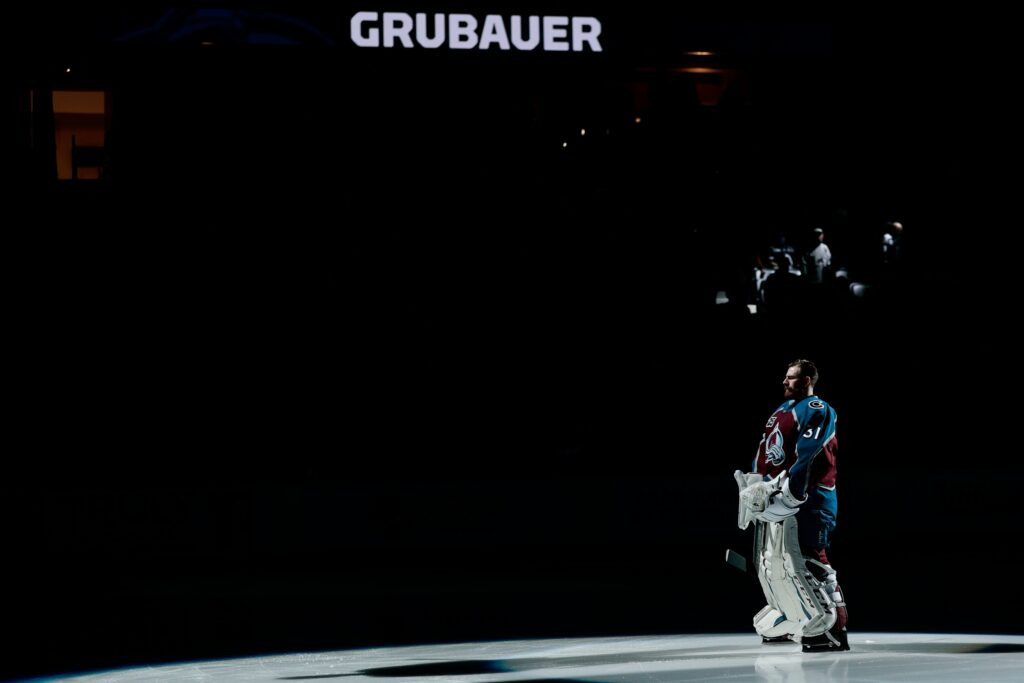 May 19, 2021; Denver, Colorado, USA; Colorado Avalanche goaltender Philipp Grubauer (31) is introduced before game two of the first round of the 2021 Stanley Cup Playoffs against the St. Louis Blues at Ball Arena. Mandatory Credit: Isaiah J. Downing-USA TODAY Sports