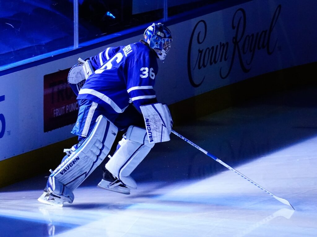 May 20, 2021; Toronto, Ontario, CAN; Toronto Maple Leafs goaltender Jack Campbell (36) takes to the ice at the start of game one of the first round of the 2021 Stanley Cup Playoffs against the Montreal Canadiens at Scotiabank Arena. Mandatory Credit: John E. Sokolowski-USA TODAY Sports