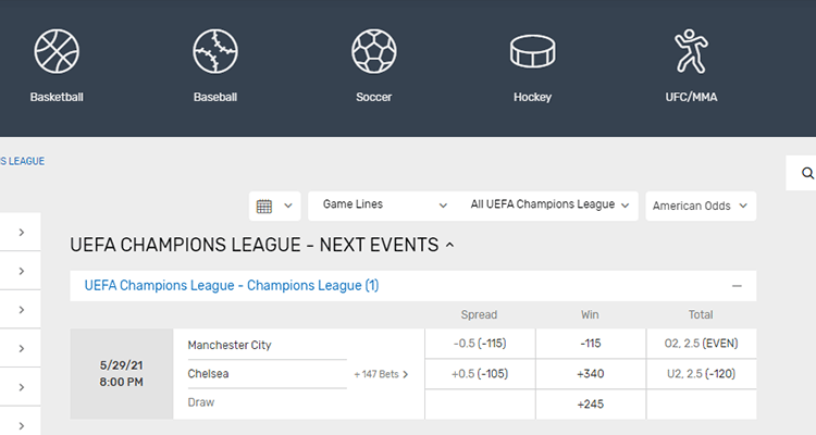 image of bovada soccer betting champions league