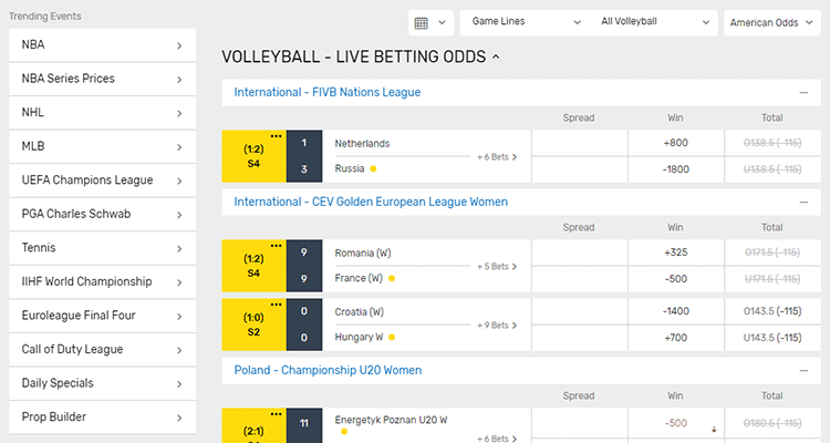 image of bovada volleyball sports betting