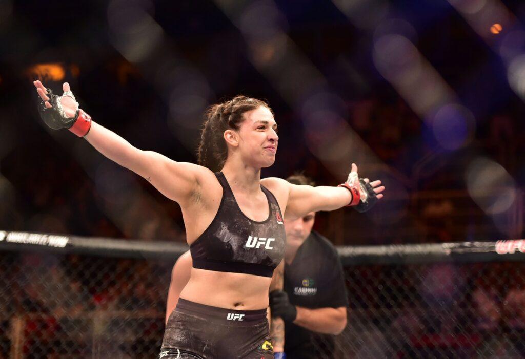 May 12, 2018; Rio de Janeiro, RJ, Brazil; Mackenzie Dern reacts after defeating Amanda Cooper (not seen) during UFC 224 at Jeunesse Arena. Mandatory Credit: Jason Silva-USA TODAY Sports