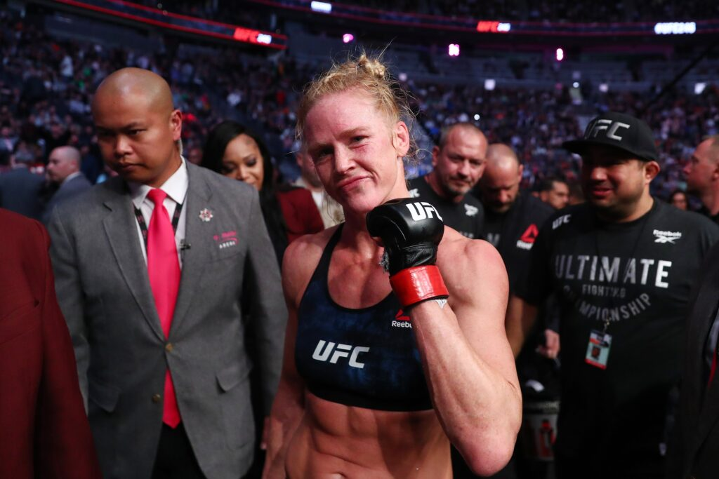 January 18, 2020; Las Vegas, Nevada, USA; Holly Holm reacts following her victory by unanimous decision against Raquel Pennington during UFC 246 at T-Mobile Arena. Mandatory Credit: Mark J. Rebilas-USA TODAY Sports