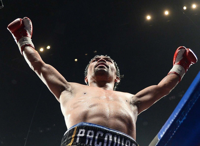 Jan 19, 2019; Las Vegas, NV, USA; Manny Pacquiao after defeating Adrien Broner (not pictured) in a WBA welterweight world title boxing match at MGM Grand Garden Arena. Pacquiao won via unanimous decision. Mandatory Credit: Joe Camporeale-USA TODAY Sports
