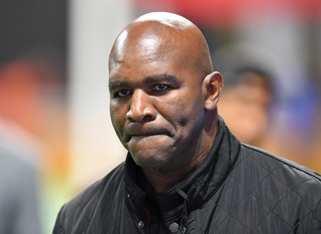 Dec 8, 2018; Atlanta, GA, USA; Evander Holyfield in attendance before the 2018 MLS Cup championship game between the Atlanta United and the Portland Timbers at Mercedes-Benz Stadium. Mandatory Credit: Dale Zanine-USA TODAY Sports