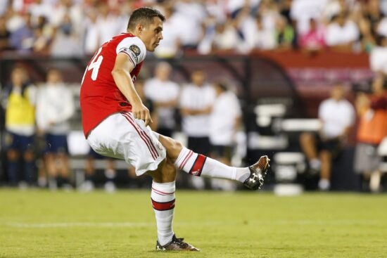 Jul 23, 2019; Landover, MD, USA; Arsenal midfielder Granit Xhaka (34) attempts a penalty against Real Madrid in the International Champions Cup soccer series at FedEx Field. Real Madrid won 2-2 (3-2 pen.). Mandatory Credit: Geoff Burke-USA TODAY Sports