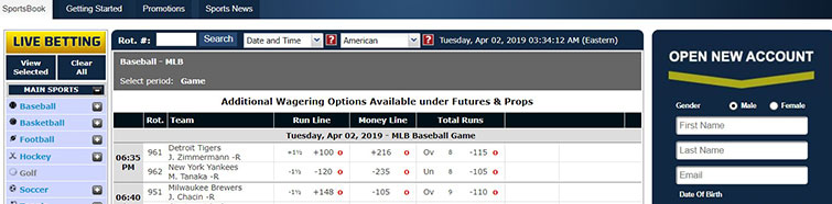 Simple and easy navigation at Sportsbetting.ag
